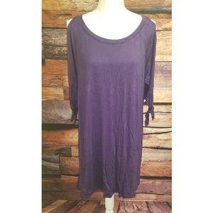 The Jasmine Deep Purple Slit Sleeve Midi Dress